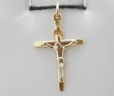 10K 2-Tone Gold Jesus Christ Crucified INRE Cross Crucifix Pendant Charm DA0171