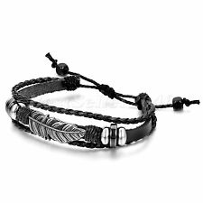 Men Women Tribal Feather Leather Surfer Adjustable Cuff Wristband Bracelet Retro