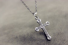 Womens 9K White Gold Filled AAA CZ Jesus Cross Chains Necklace with Pendants