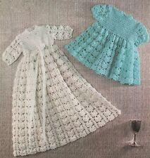 Patrón de ganchillo Bebés Vestido/Vestido, corto y largo opciones. 3Ply.