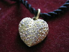 1980s Out of Prod. LINDA LEVINSON Yellow Gold Plate PAVE CRYSTAL HEART Pendant +