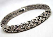 MENS 8.5 INCH MAGNETIC THERAPY LINK BRACELET: Woven Silver; Helps Pain!