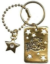 Planet Hollywood Logo Keychain, Austrian Crystal Stone, Antique Gold Plate, NEW