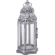 Vintage Antique Style Lantern Candle Holder Moroccan Wedding Grey Shabby Chic