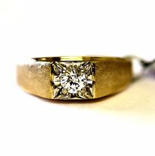 14k yellow gold gents cubic zirconium ring mens vintage estate 10.0g antique CZ