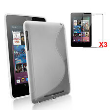 Google Nexus 7 Kit- Premium S-Shape Clear TPU Gel Skin Case+3pcs HD Screen Cover
