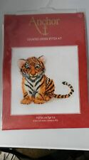 "Anchor counted cross stitch kit PCE738 Little Tiger Cub 20cm/ 7.75"" square"