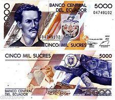 Equateur ECUADOR BILLET 5000 Sucres 1999 P128 TORTUE / JUAN MONTALVO UNC NEUF