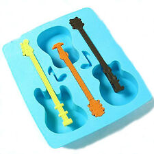1x Silicone Ice Cube Trays Guitar Shape Chocolate Cake Maker Kitchen Mould Cheap