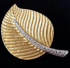 Signed KJL ( Kenneth Jay Lane ) Vintage Huge Leaf Brooch Pin Rhinestone J70