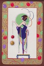 1 Single VINTAGE Swap/Playing Card DECO FLAPPER LADY BALLOONS BORDER Gold