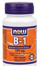 NOW Foods Vitamin B-1 (Thiamine) 100mg - 100 Tabs FAST SHIPPING