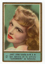 1950s Fedora Spanish Film Star cigarette tobacco card #12 US Actress Janet Leigh