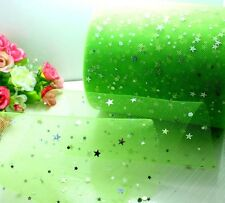 """5yard 6"""" Green Five-pointed Star Tutu Trim Tulle Fabric Lace Party Craft L2822"""