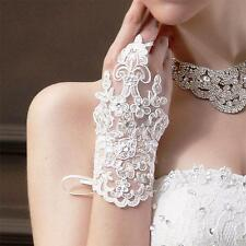 White Bride Wedding Party Dress Fingerless Pearl Lace Satin Bridal Gloves  /q