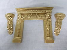 DOLLS HOUSE CHERUB FIRE - PLACE AND CHERUB WALL SCONCES ANTIQUE GOLD