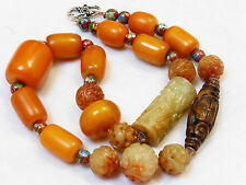 VINTAGE CHINESE CARVED JADE, BAKELITE BEADS NECKLACE, SILVER CLASP, 134 GRAMS