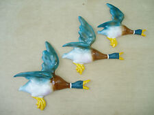 SET OF 3 FLYING WALL DUCKS, CAST IN STRONG STONE POWDER AIRBRUSHED & HANDPAINTED