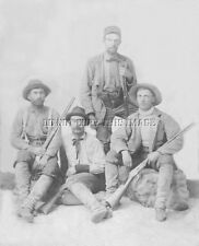 ANTIQUE HUNTING REPRO 8X10 PHOTO 4 MEN WITH AND LEVER ACTION RIFLES