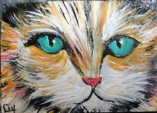 ACEO ORIGINAL PAINTING Dixie Art Card IMPRESSIONISM CAT KITTY TURQUOISE EYES