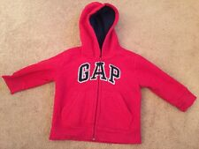 Baby Gap Fleece Hooded Top Red Uk Size 12 - 18 Months  Very Good Condition