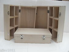 3X Small  Plain Art and Craft decoupage box, 2 front latch hinged diveders