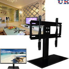 Universal Table TV Stand With Bracket Glass Pedestal LCD LED Plasma Mount 37-55""