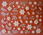 Christmas Silver White Snowflakes Stars Design 3D Nail Art Stickers Decals 256