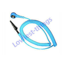 ESD Antistatic wrist strap coiled cord 10mm stud to banana/croc blue