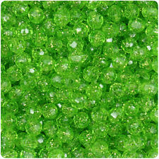750 Lime Green Sparkle 6mm Faceted Round Plastic Craft Beads Made in the USA