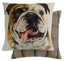 FILLED EVANS LICHFIELD BRITISH BULLDOG DOG REVERSIBLE TARTAN BROWN CUSHION 17""