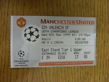 08/12/1999 Ticket: Manchester United v Valencia [UEFA Champions League] . Thanks