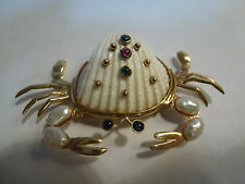 RARE, Large Maz 14k Gold Crab Shell Brooch w/Pearls and Gemstones
