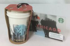 Starbucks Chicago Skyline Christmas Ornament Ceramic To Go Cup 2015 & Gift Card