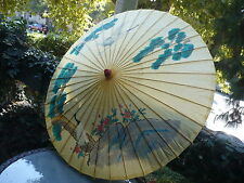 BEAUTIFUL VINTAGE CHINESE UMBRELLA HAND MADE PAINTED BIRDS WAX PAPER & BAMBOO