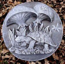 turtle w mushrooms plaque plastic mold concrete plaster mould