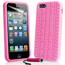 Baby Pink Tyre Tread Silicone Rubber Case for iPhone 5/5S  & Free Stylus
