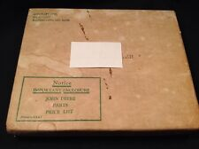 Vintage John Deere Parts Price List In Original Shipping Box Unopened