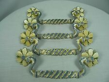 4 Drawer Pulls cast metal Daisy Floral Twisted Design AS FOUND Condition Patina