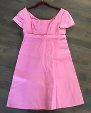 Vtg 60s LORRIE DEB Bubble Gum Pink Ribbed GoGo Mini MOD Dress XS S