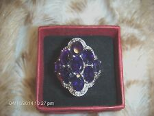 NATURAL SATURATED OVAL AFRICAN AMETHYST 7.65 CT SHIELD RING,SS .925,SIZE 6, NWOT