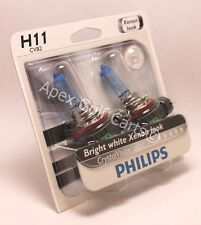 PAIR PHILIPS CRYSTAL VISION ULTRA HALOGEN HEADLIGHTS H11 CVS2 NEW 12362 55W 12V