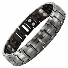 Mens Willis Judd New Four Element Gunmetal Titanium Magnetic Bracelet In...