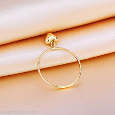 NEW Pure 18K Yellow Gold Ring / with Heart Charm Ring Size: 6