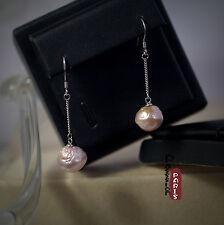 Boucles d`Oreilles Perle de Culture Baroque Hérisson Violet Argent 925 11mm A