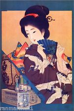 1897 Hajutsuru Sake Vintage Asian Japanese Geisha Advertisement Art Poster Print