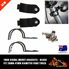 Black Motorcycle Turn Signal Light Mount Brackets Fork Ear Clamps For Harley
