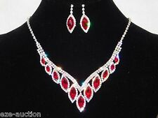 Silver Clear Rhinestone & Red Ruby Marquise Bridal Party Necklace, Earrings Set