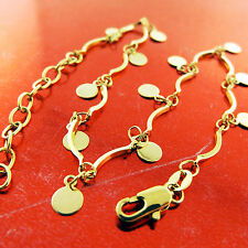 A782 GENUINE REAL 18K YELLOW G/F GOLD LADIES MEDAL CHARM XL BRACELET ANKLET