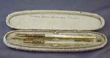 Lot of 2 Mother of Pearl Handle Dip Pen Chevron Gold Top HM Smith Nib In Box